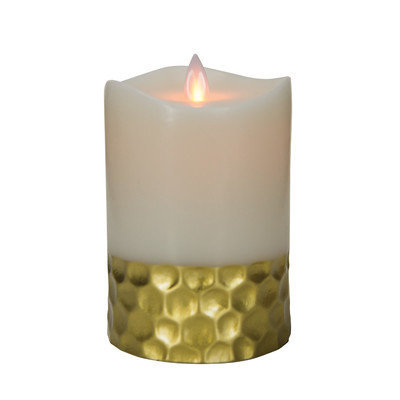 Boston Warehouse 30583 Mystique 360 Degree 5 in. Ivory & Gold Flameless Pillar Candle