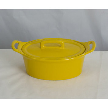 Omniware Stoneware Oval Casserole Color: Yellow, Size: Small