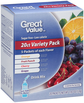 Great Value™ 20 ct Variety Pack Drink Mix 1.87 oz. Box
