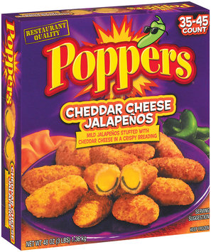 Poppers Cheddar Cheese 35-45 Ct Stuffed Jalapenos 48 Oz Box
