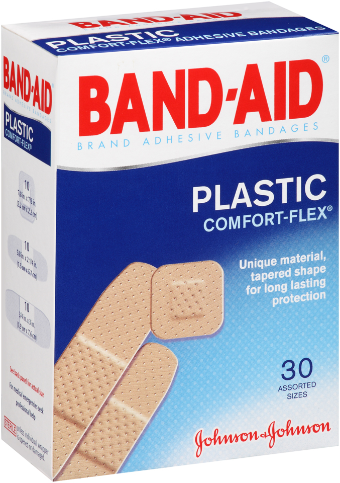 Band-Aid® Plastic Comfort-Flex® Adhesive Bandages 30 ct Box