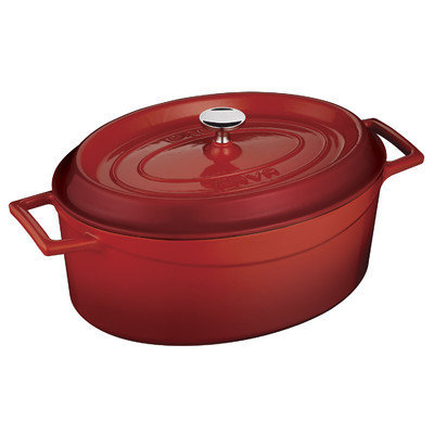 Lava Cookware Signature Enameled Cast-Iron Oval Dutch Oven, 4.25-qt, Cayenne Red