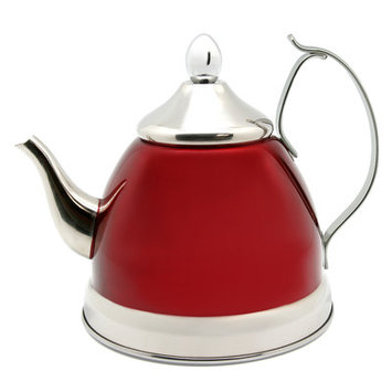 Creative Home Nobili Tea Stainless Steel Tea Kettle, Cranberry