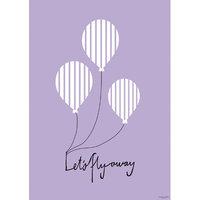 Scantrends Kids Illustration Balloon Paper Print, Purple, 8.19 x 5.85