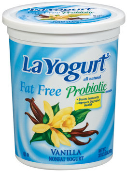 La Yogurt Vanilla Fat Free Yogurt Probiotic 32 Oz Tub