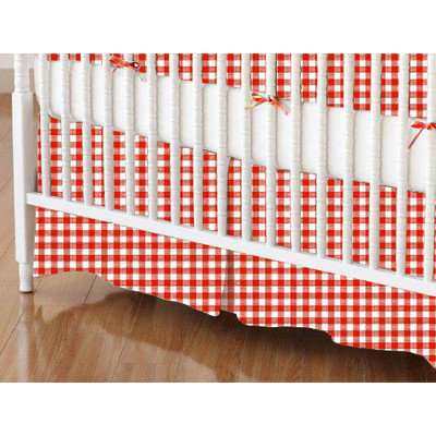 Stwd Primary Gingham Woven Crib Skirt Color: Red
