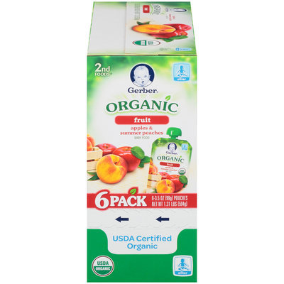 Gerber Organic 2nd Foods Fruit Apples & Summer Peaches Baby Food 6-3.5 oz. Pouches