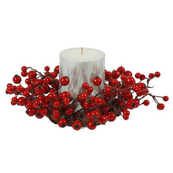 Vickerman P101205 10 in. Red Mixed Berry Candle Ring 3.5 in. Ctr