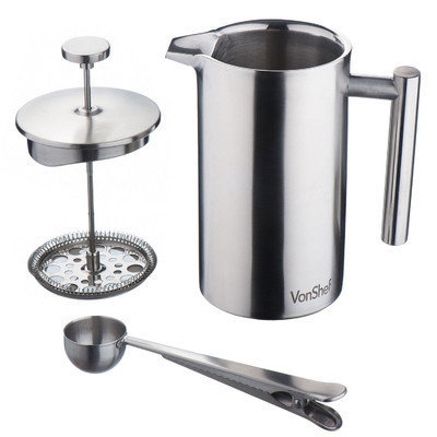 Vonshef Stainless Steel French Press Cafetiere Coffee Maker Size: 28 oz.