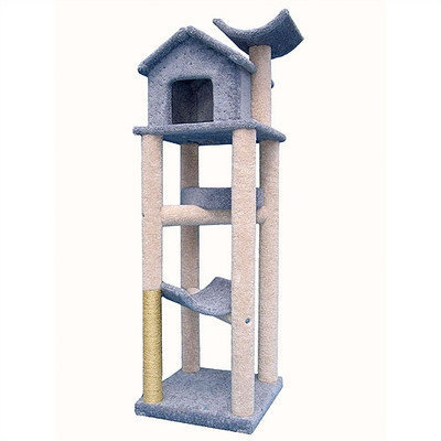 Munro Inc Dba Molly & Friends Molly and Friends Tree House Cat Tree - 76 in. Blue