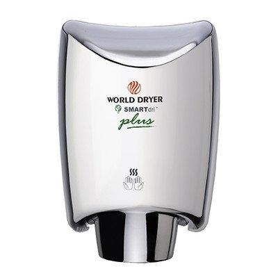 World Dryer SmartDri Plus Single-Port Nozzle Hand Dryer Finish: Polished Stainless Steel, Voltage: 208-240 V