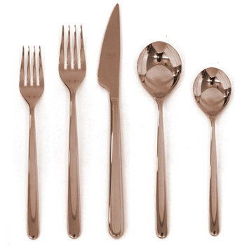 Mepra Linea 5 Piece Cutlery Set Color: Rose Gold
