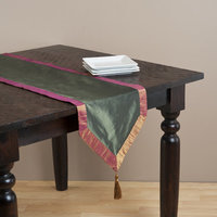 Saro Two-Tone Table Runner with Crushed Border