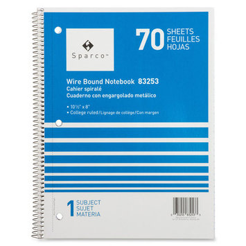 Sparco Wirebound College Ruled 1-subject Notebooks