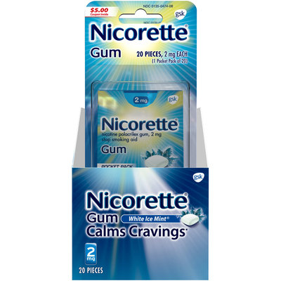 Nicorette® 2mg White Ice Mint® Stop Smoking Aid Gum 20 ct Carded Pack