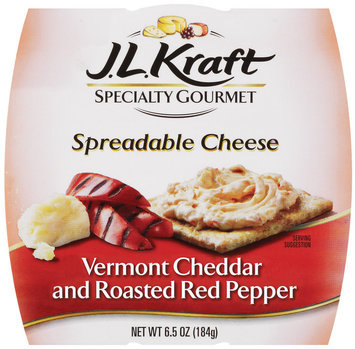 J.L. Kraft Cheddar Sharp White & Roasted Red Pepper Spreadable Cheese Specialty Gourmet 6.5 Oz Sleeve