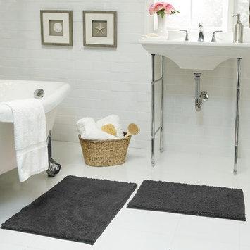Resort Collection Chenille Plush 2 Piece Bath Mat Set, Gray