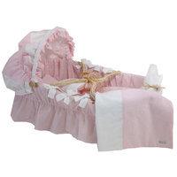 Wendy Anne S1717 - Moses Basket with Seersucker Bedding Set Pink Seers