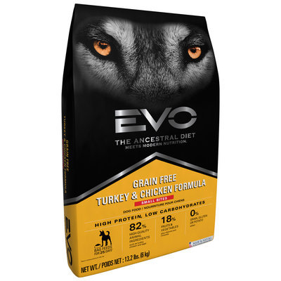 EVO Turkey & Chicken Formula Small Bites Dog Food 13.2 lb. Bag
