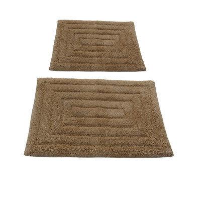 Textile Decor Castle 2 Piece 100% Cotton Racetrack Spray Latex Bath Rug Set, 34 H X 21 W and 40 H X 24 W