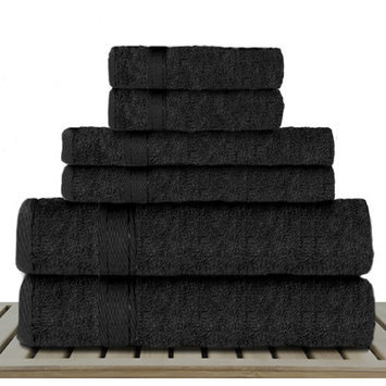 Linen Depot Direct Sandra Venditti Bamboo Rayon 6 Piece Towel Set Color: Black