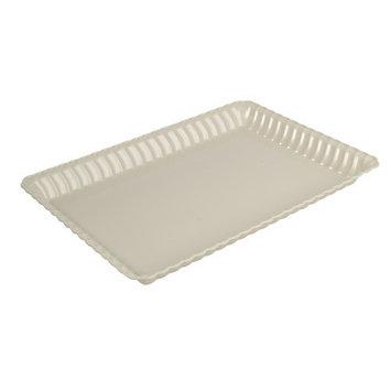 Fineline Settings, Inc Flairware Rippled Bulk Disposable Plastic Serving Tray (48/Case), Bone