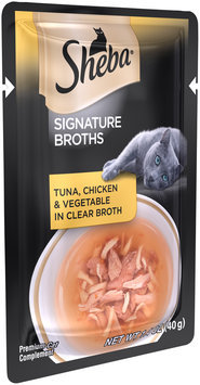 Sheba® Signature Broths Tuna, Chicken & Vegetable in Clear Broth Premium Cat Food 1.4 oz. Pouch
