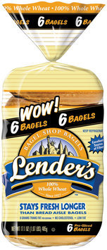 Lender's Refrigerated 100% Whole Wheat Bagels 17.1 Oz Bag