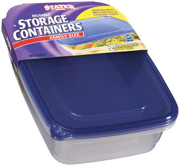 Stater Bros. Family Size Reusable W/Lids 128 Oz Storage Containers 2 Ct Sleeve