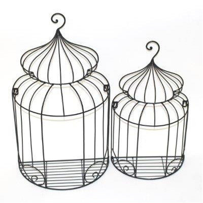 Tally Collection 2 Piece Metal Wall Hanging Birdcage Set