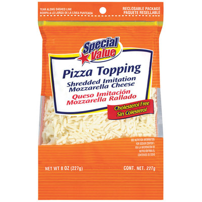 Special Value Shredded Imitation Mozzarella Pizza Topping 8 Oz Peg
