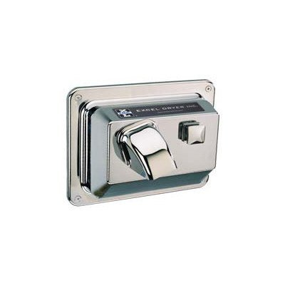 Excel Dryer Push Button Recessed Mounted 208 / 230 Volt Hand Dryer in Chrome