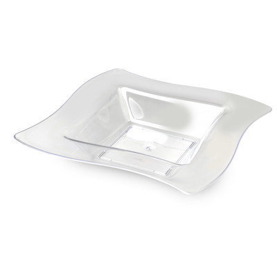 Fineline Settings, Inc Wavetrends 12 oz. Square Wavy-Edge Bowl (Pack of 120), Clear