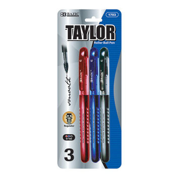 BAZIC Taylor Assorted Color Rollerball Pen (3/Pack(Case of 144)