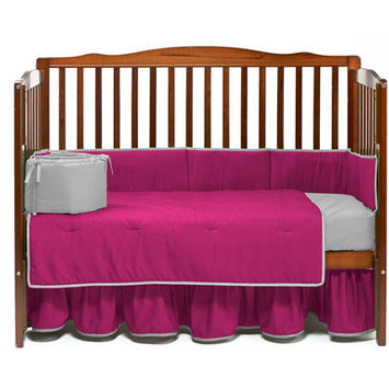 Baby Doll Bedding Solid 4 Piece Crib Bedding Set Color: Hot Pink/Gray