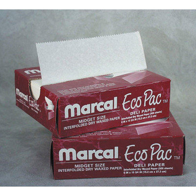 Marcal Eco-Pac Natural Interfolded Dry Wax Paper, 8 x 10.75, 500/Box, 12 Boxes/Carton
