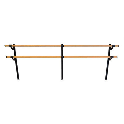 Vitavibe Wall Barre Series Traditional Wood Double Bar Adjustable Height Ballet Barre Kit Size: 4 ft.