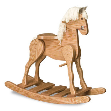 Fireskape Amish Medium Deluxe Crafted Rocking Horse with Mane Mane Color: Black, Finish: Maple White