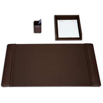 D & H Distributing Co Dacasso D3437 Chocolate Brown Leather 3-Piece Desk Set