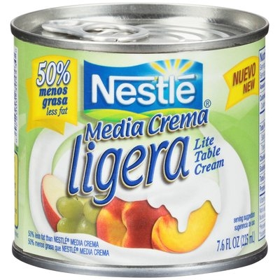 MEDIA CREMA 50% Less Fat Lite Table Cream 7.6 FL. OZ. Pull-Top Can