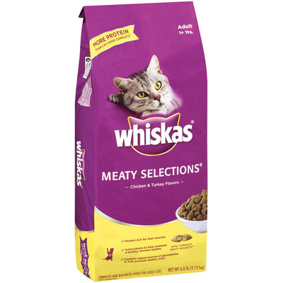 Whiskas Meaty Selections Chicken & Turkey Flavors Adult 1+ Yrs Dry Cat Food 6 Lb Bag
