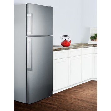 Summit FF1511SS 28 Inch Top Freezer Counter Depth Refrigerator with 12.6 cu. ft. Capacity, 3 Adjustable Glass Shelves, Crisper Drawer, 3 Door Bins, Glass Freezer Shelf, Ice Maker, LED Lighting and Digital Thermostat: No Icemaker