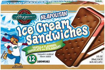 Haggen Neapolitan Ice Cream Sandwiches 12 Ct Box