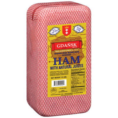Gdansk Shankless Boneless Cooked Ham 13 lbs. Pack