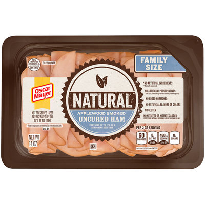 Oscar Mayer Natural Applewood Smoked Uncured Ham Cold Cuts 14 oz. Tray