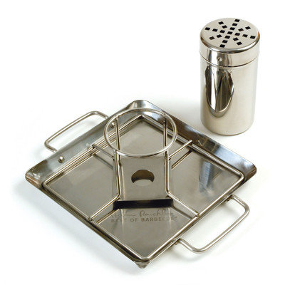 Charcoal Companion Steven Raichlen Stainless Beer Can Chicken Roaster with Drip Pan