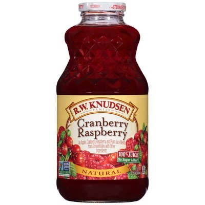 R.W. Knudsen Family® Natural Cranberry Raspberry 100% Juice 32 fl. oz. Bottle
