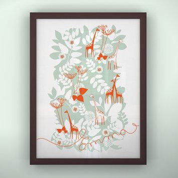 Littlelion Studio Prints Unframed Backyard Art Color: Turquoise / Orange