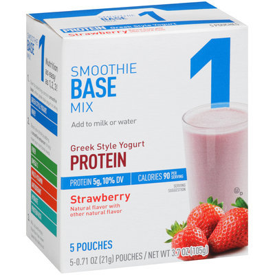 Great Value Greek Style Yogurt Protein Strawberry Smoothie Base Mix 5-0.71 oz. Pouches