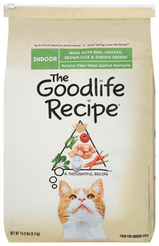 Archived The Goodlife Recipe Indoor W/Real Chicken Brown Rice & Garden Greens Dry Cat Food 14 Lb Bag